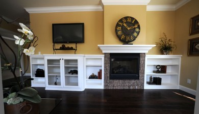 Painted fireplace bookcases